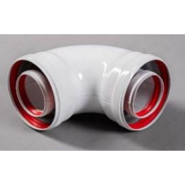 Коаксиальное колено мама/мама D60/100 90 градусов с раструбом универсальное
