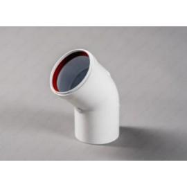 Угол (колено) мама/папа отвод 45гр. D80 раздельной системы дымоудаления
